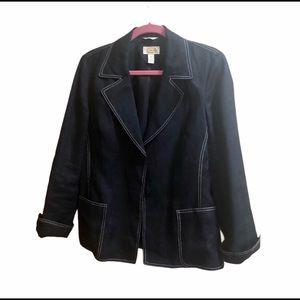 Ann Taylor Irish Linen black blazer jacket. Size 8
